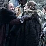 First, he hugs Ned.
