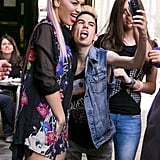 Rita Ora took selfies with fans in Madrid, Spain, on Thursday.