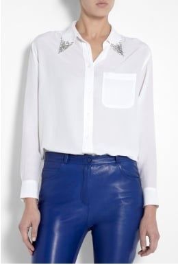 Equipment White Daddy Shape Jewel Collar Blouse ($419)