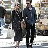 Andrew Garfield looked over at his girlfriend, Emma Stone, in NYC.