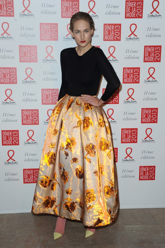 Leelee Sobieski in Yellow Floral Dior Skirt