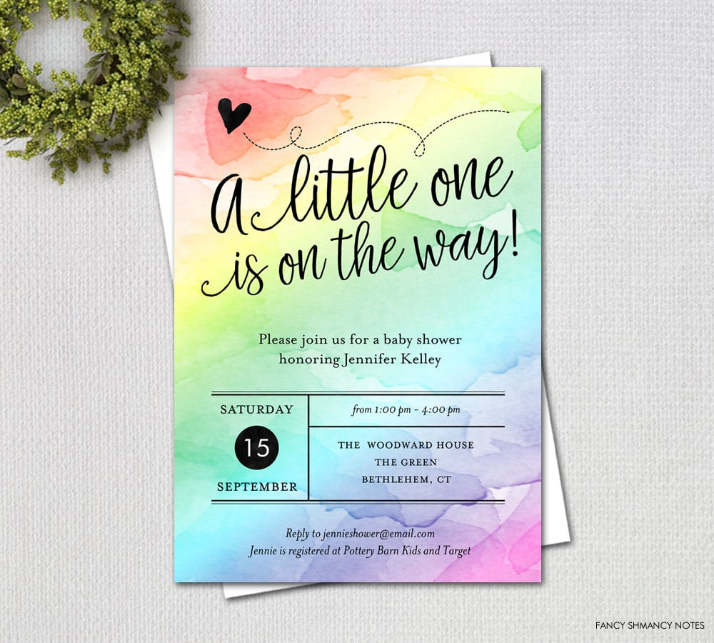 Water Color Rainbow Baby Shower Invitation Rainbow Baby Shower