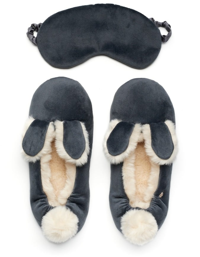 Lauren Conrad Velour Bunny Ear Ballet Slippers With Sleep Mask