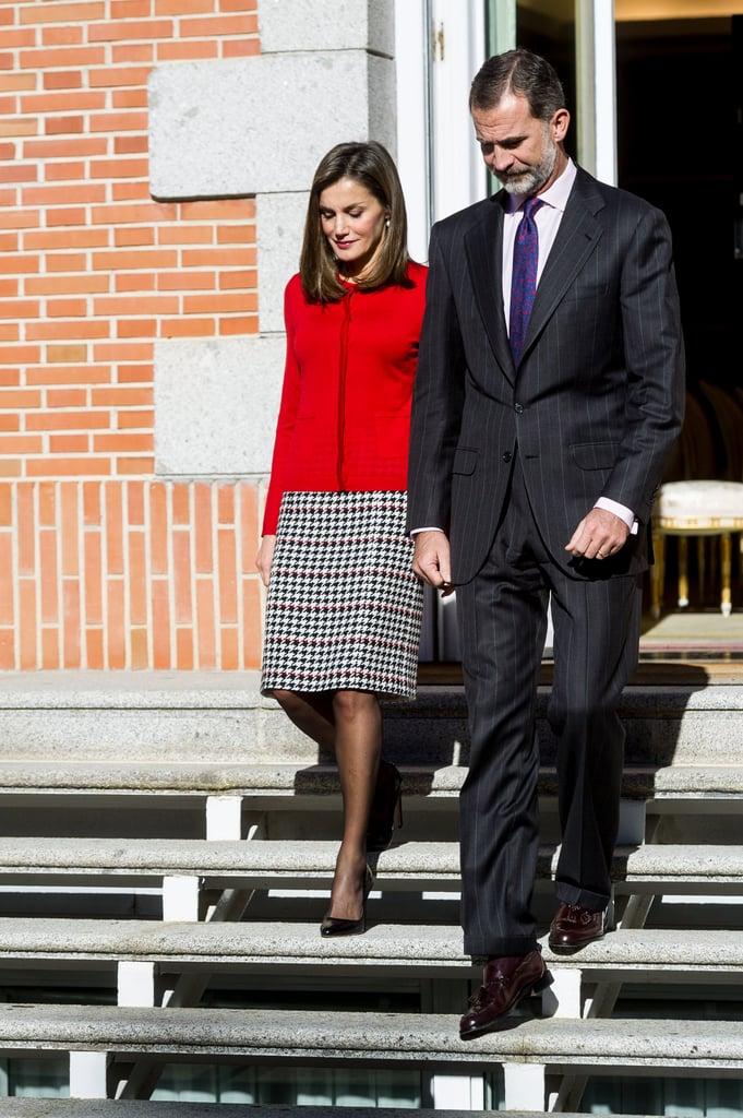 Queen Letizia Hugo Boss Plaid Skirt