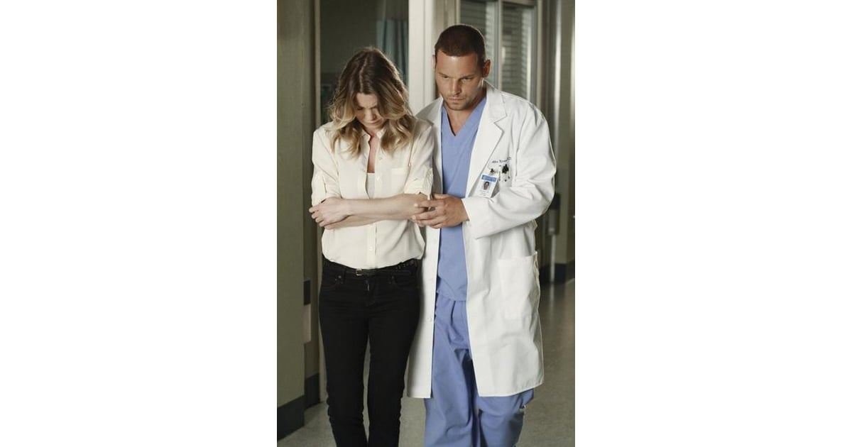 Ellen Pompeo as Dr. Meredith Grey and Justin Chambers as Dr. Alex ...