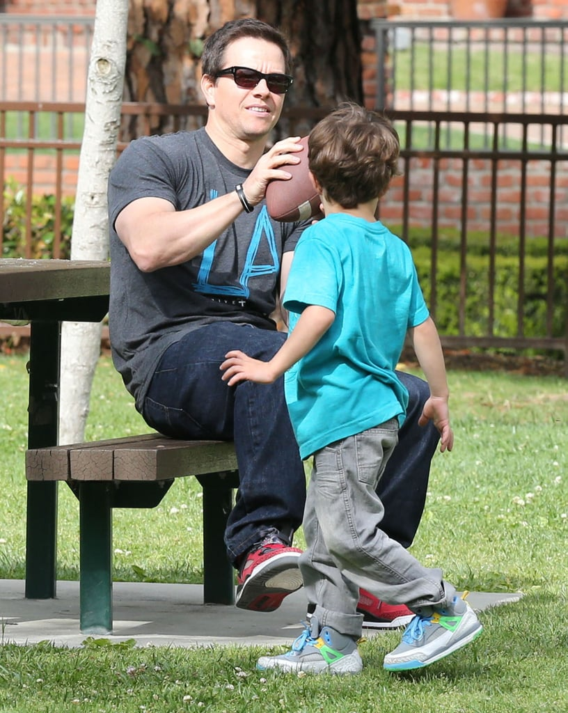 In March, Mark Wahlberg tossed around a football with one of his sons in Beverly Hills.