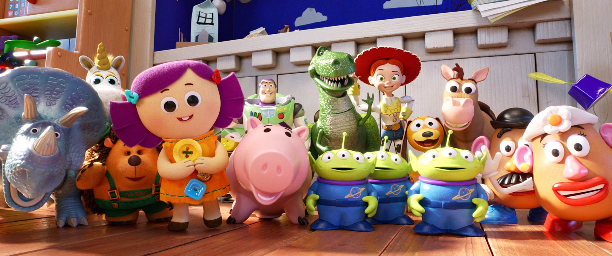 TOY STORY 4, rear from left: Buttercup, Buzz Lightyear, Rex, Jessie, Slinky Dog, Bullseye; front from left: Trixie, Mr. Pricklepants, Dolly, Squeeze Toy Aliens, Mr. Potato Head, Mrs. Potato Head, 2019.  Walt Disney Studios Motion Pictures / courtesy Everett Collection
