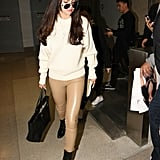 She Wore Her Signature Latte-Colored Wolford Estella Leggings With a Pair of Dear Frances Spirit Boots