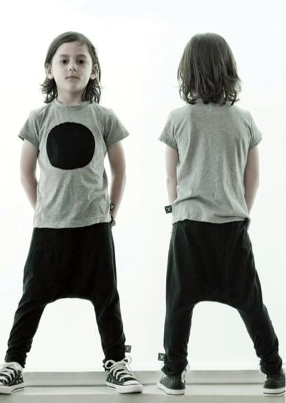 Gray and Black Tee and Baggy Pants