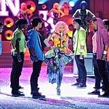 Nicki Minaj walked through her dancers.
