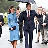 She Braved the Rain in a Blue Alexander McQueen Coat