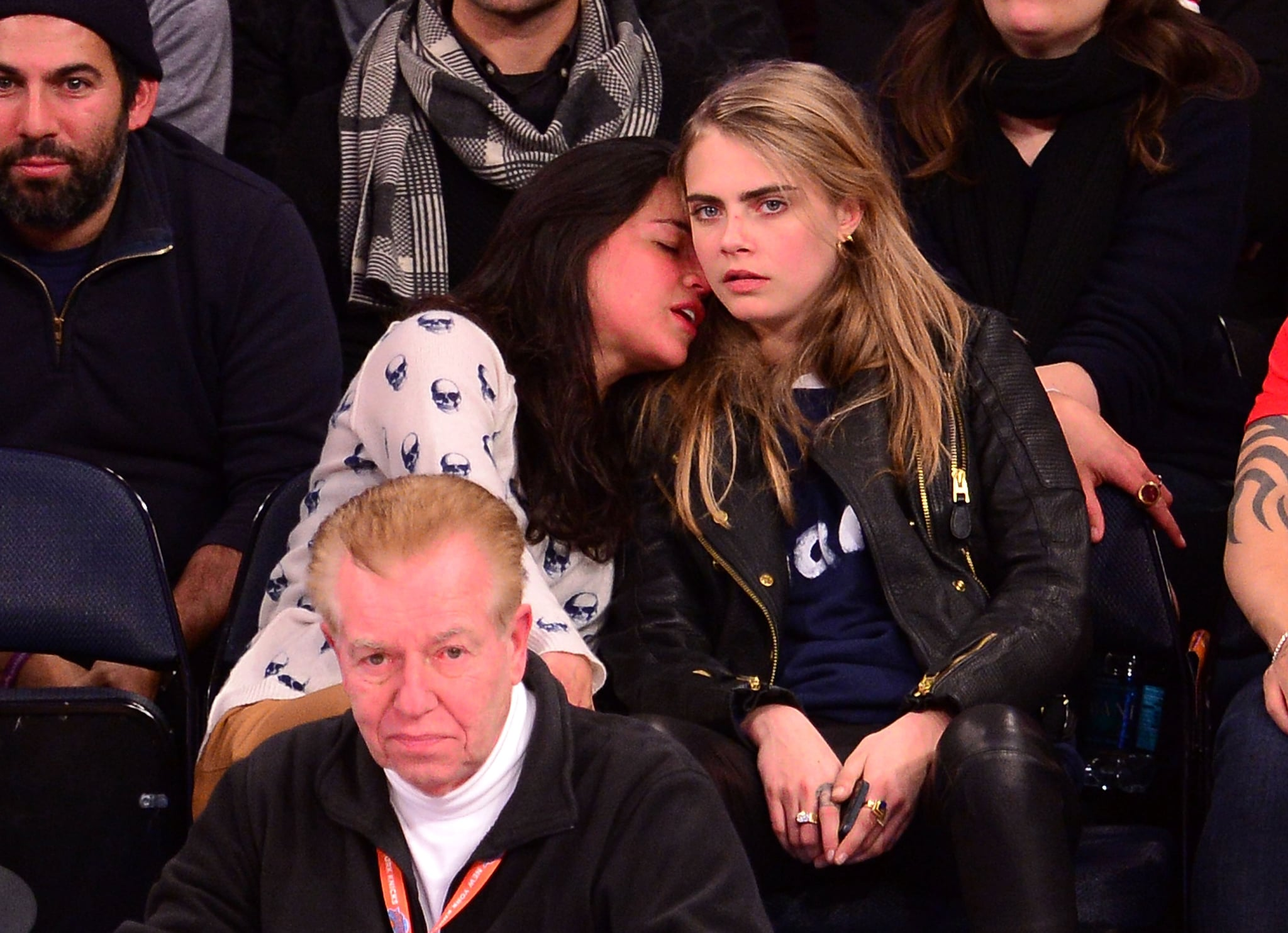 Michelle Rodriguez Snuggled With Cara Delevingne At A Knicks Game In Celebrities Caught Locking Lips On The Kiss Cam Popsugar Celebrity Photo 22
