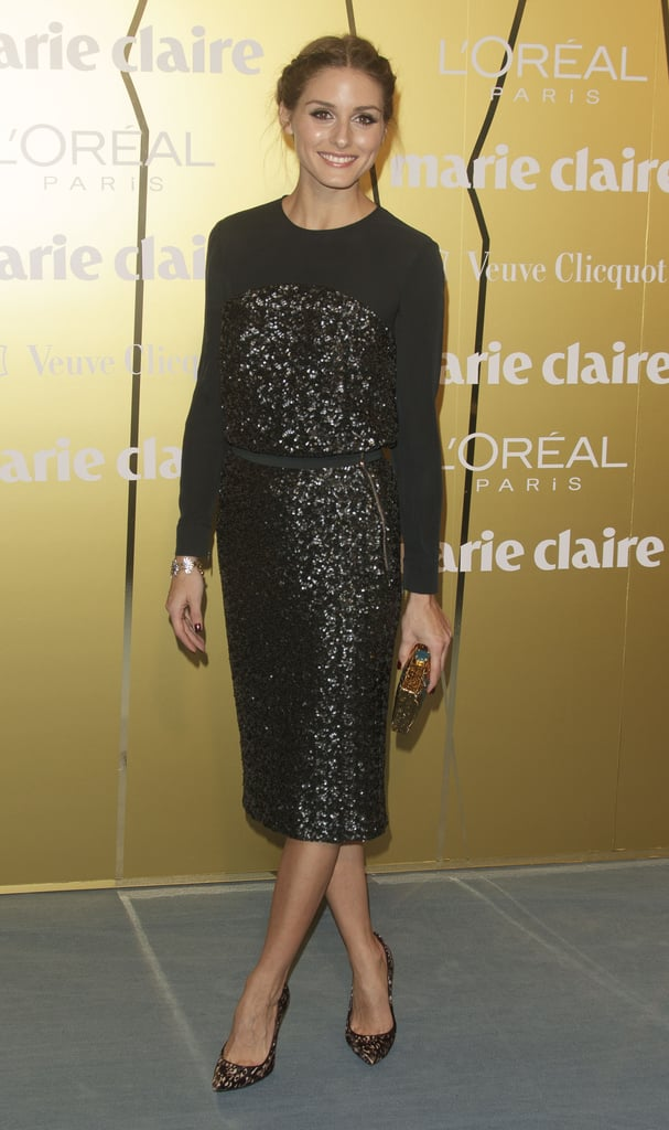 Olivia Palermo was good as gold at the Marie Claire Prix de la Moda Awards as she honored Stuart Weitzman in his festive metallic accessories.
