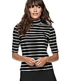 POPSUGAR Elbow Sleeve Mockneck Top in Black Stripe