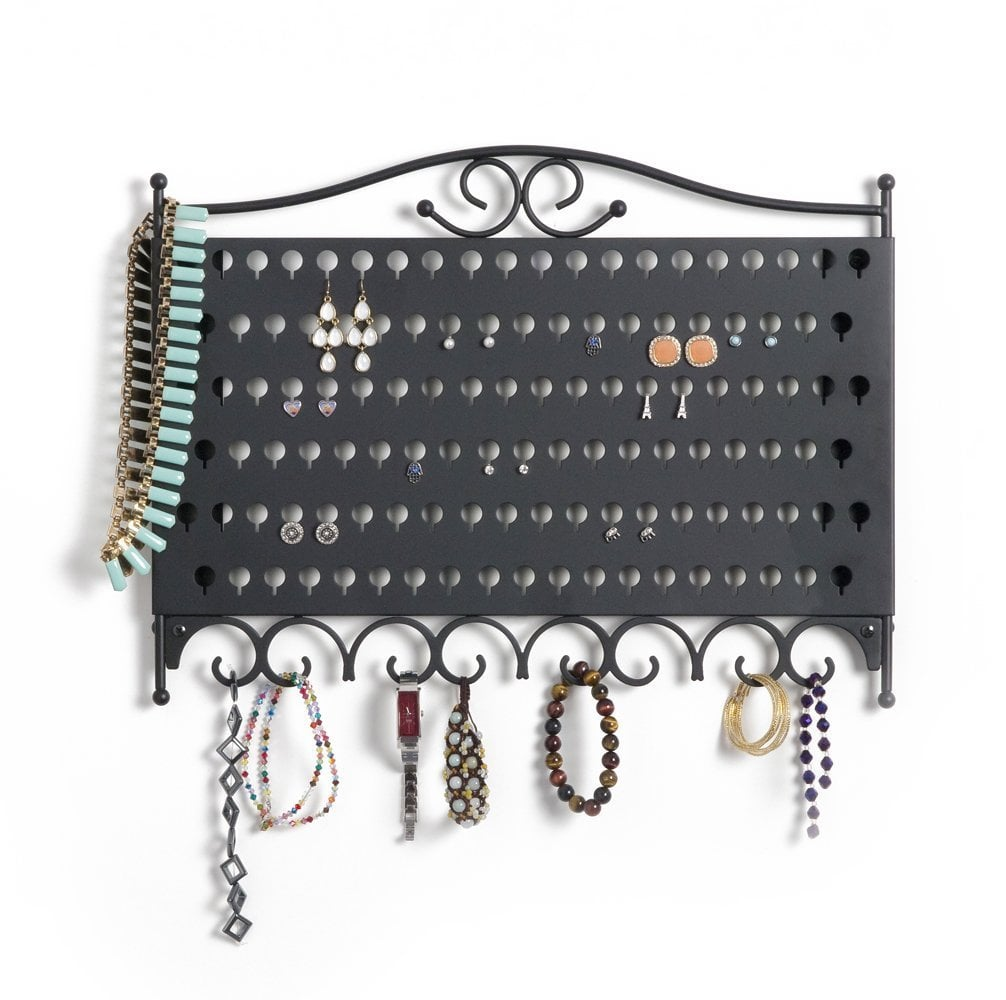 Wall-Mounted Jewelry and Earring Organizer