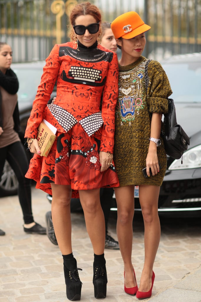 Statement prints and must-have accessories helped these two draw a crowd.