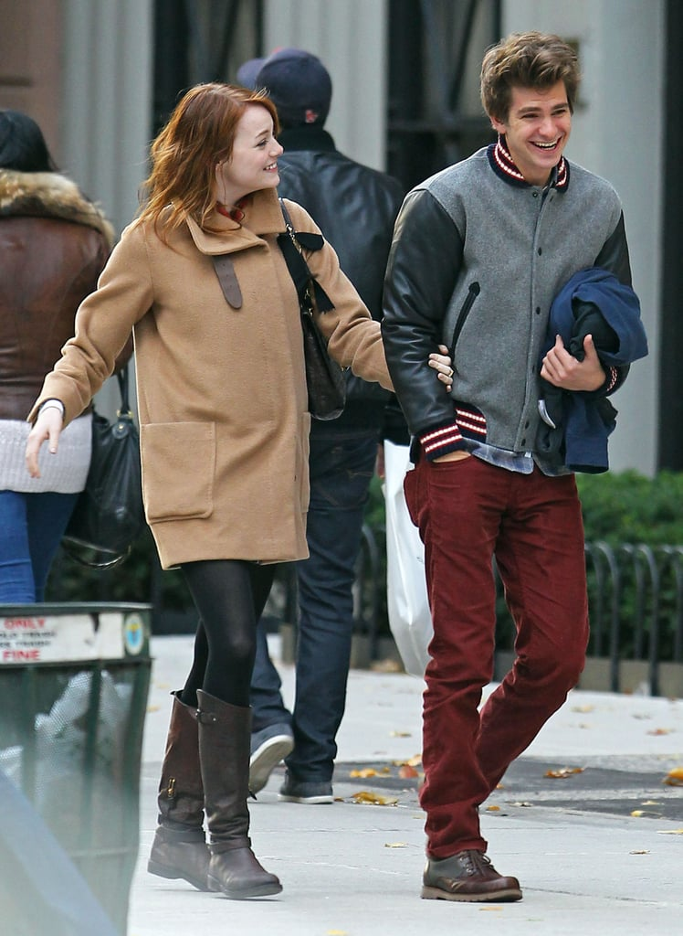 Andrew Garfield and Emma Stone showed PDA yesterday while on a walk in NYC. The Amazing Spider-Man duo walked around the East Village neighborhood, holding hands and almost skipping. Both Emma and Andrew are hanging around the Big Apple following her stint as host on SNL earlier this month. She also made a cameo on another iconic NYC show: Emma Stone appeared on Sesame Street in a skit about balance with the puppet Abby Cadabby!