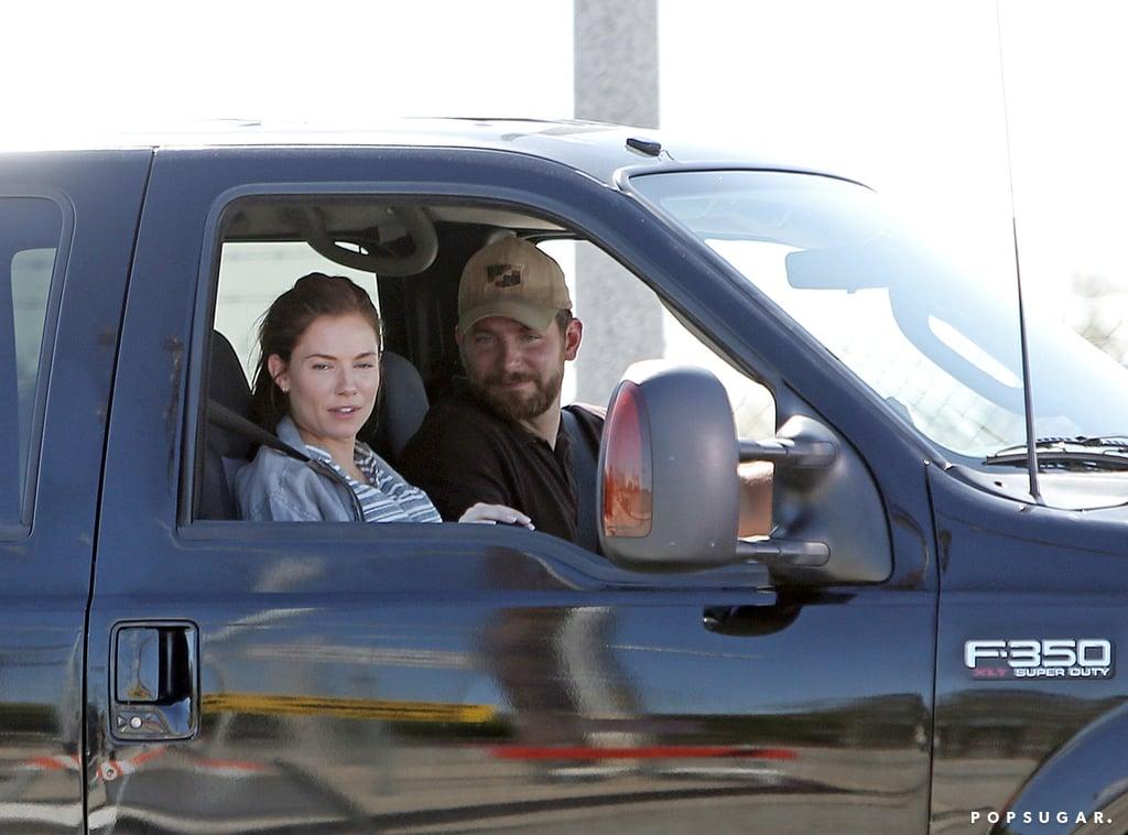 Sienna Miller and Bradley Cooper filmed American Sniper together on Wednesday in LA.