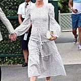 Pippa Middleton White Printed Dress at Wimbledon July 2018