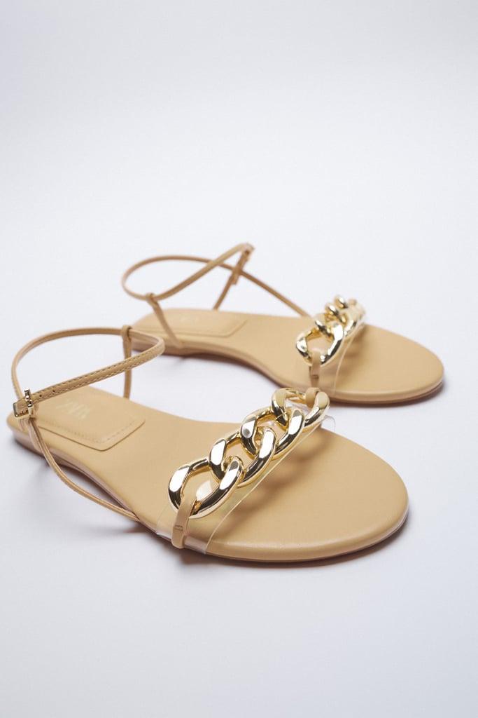 Zara Chain Trim Low Heeled Sandals