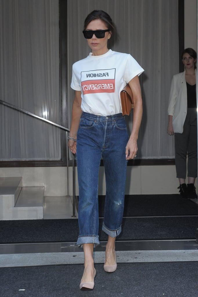 Victoria Beckham Wearing Fashion Emergency T-Shirt