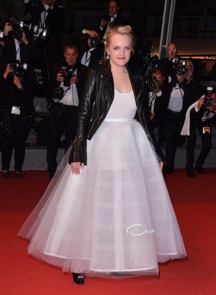 She wore an Oscar de la Renta dress with a leather jacket to the 2017 Annual Cannes Film Festival.