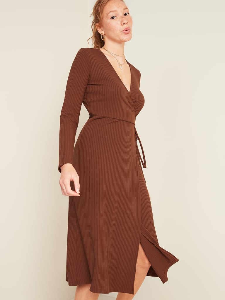 Rib-Knit V-Neck Midi Wrap Dress