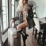 A Furry Jacket, High Boots, and a Slip Dress
