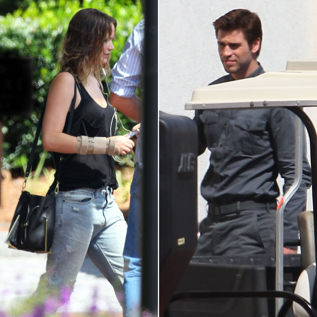 Jennifer Lawrence and Liam Hemsworth on Mockingjay Set