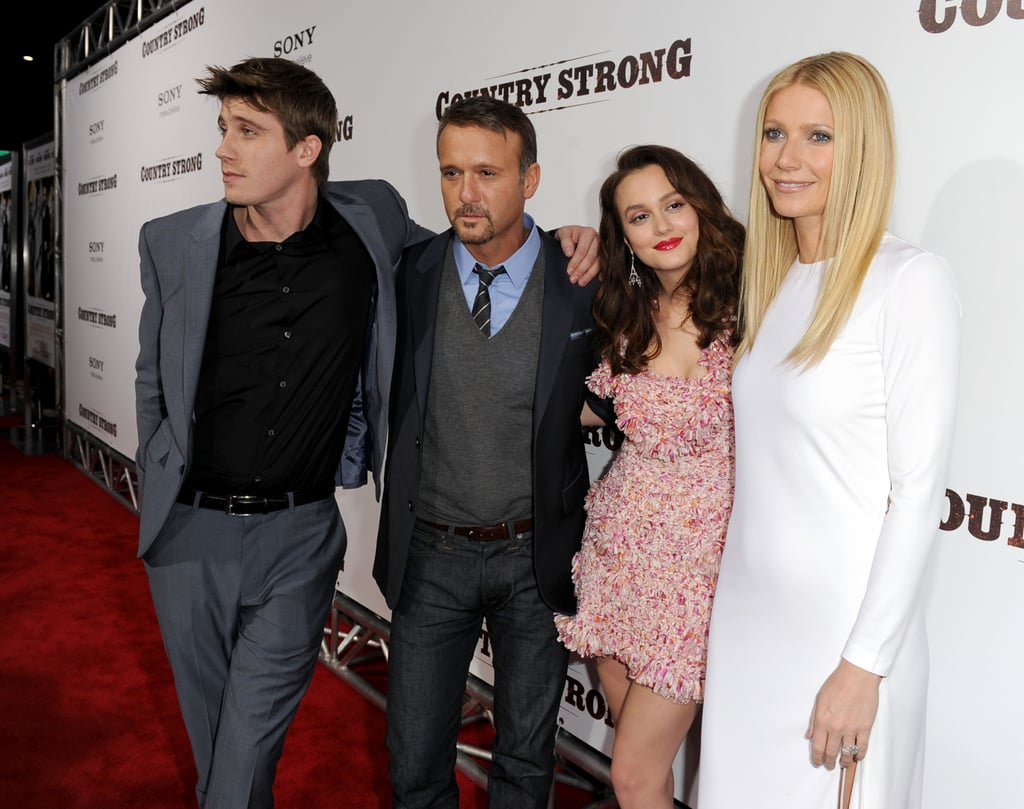 Gwyneth Paltrow stepped out in a daring white Pucci dress for the premiere of Country Strong in LA last night. The InStyle cover girl was joined by her costars Leighton Meester, who wore a pink Christian Dior mini, Garrett Hedlund, and Tim McGraw, who had wife Faith Hill by his side. Tim and Faith also supported Gwyneth at her Hollywood Walk of Fame ceremony earlier this week. The musical movie was nominated for a Best Song Golden Globe, after Gwyneth showed off her singing voice at the CMAs and on Glee, and we'll get to see her take the stage on the big screen when the film hits theaters in limited release Dec. 22 and more theaters on Jan. 7.