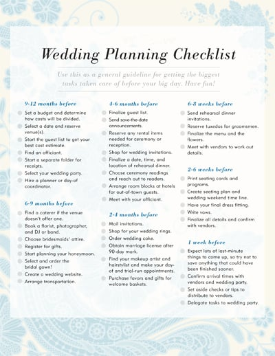 Wedding Checklist Printable - Template