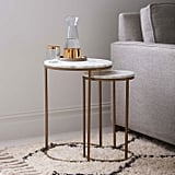 Marble Round Nesting Side Table Set