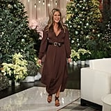 Jennifer Aniston Brown Dress on Ellen