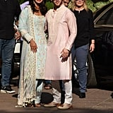 The bride-to-be looked absolutely gorgeous in a powder blue Manish Malhotra World outfit covered with delicate embroidery. Nick opted for a pink outfit from the designer as well.