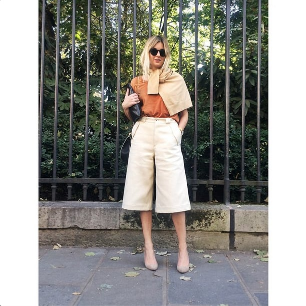 This outfit's silhouette is totally A-line —from the way the cardigan drapes over the shoulders to the shape of the pants.