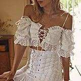 For Love & Lemons Anabelle Eyelet Crop Top and Hermosa Eyelet Mini Skirt