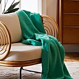 Brushed Fringe Trim Throw Blanket