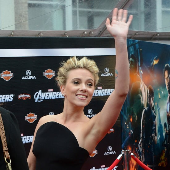 Scarlett Johansson Pictures in Black Versace Dress at The Avengers World Premiere
