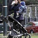 Jennifer Garner drank a coffee in New Orleans while holding Samuel Affleck.