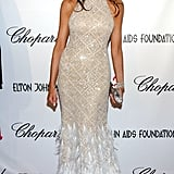 Melania wore this feather embellished gown to Elton John's 13th annual AIDS Foundation Oscar party in 2005.