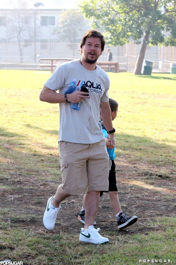 Mark Wahlberg and Michael Wahlberg walked through the park in LA.