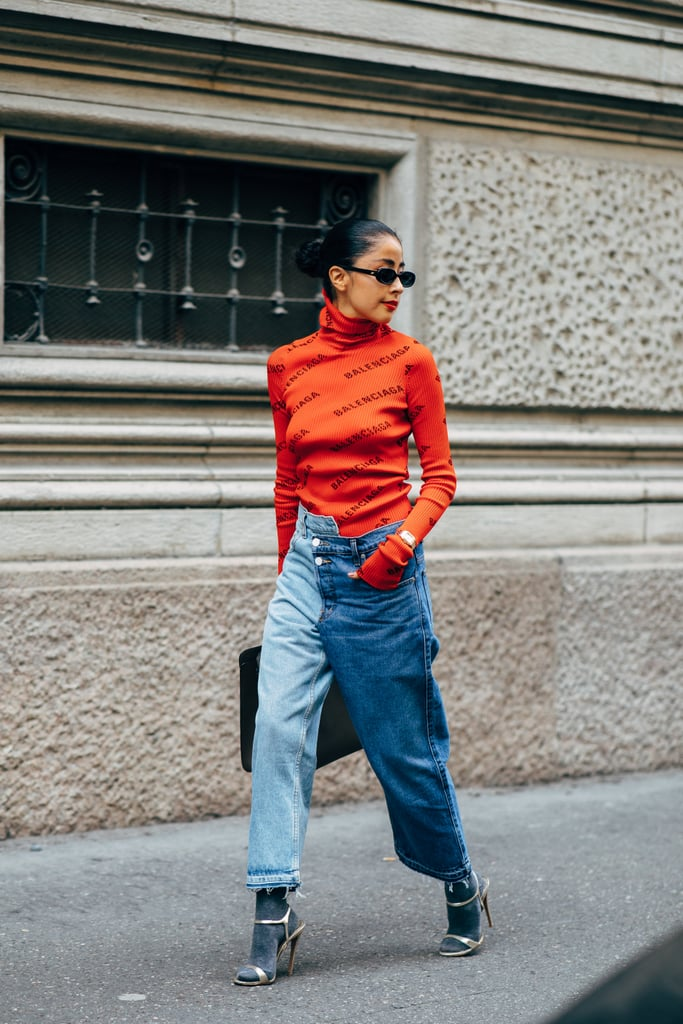 Wear Deconstructed Denim, Which Is Already Pretty Cool, With a Tight Ribbed Jumper