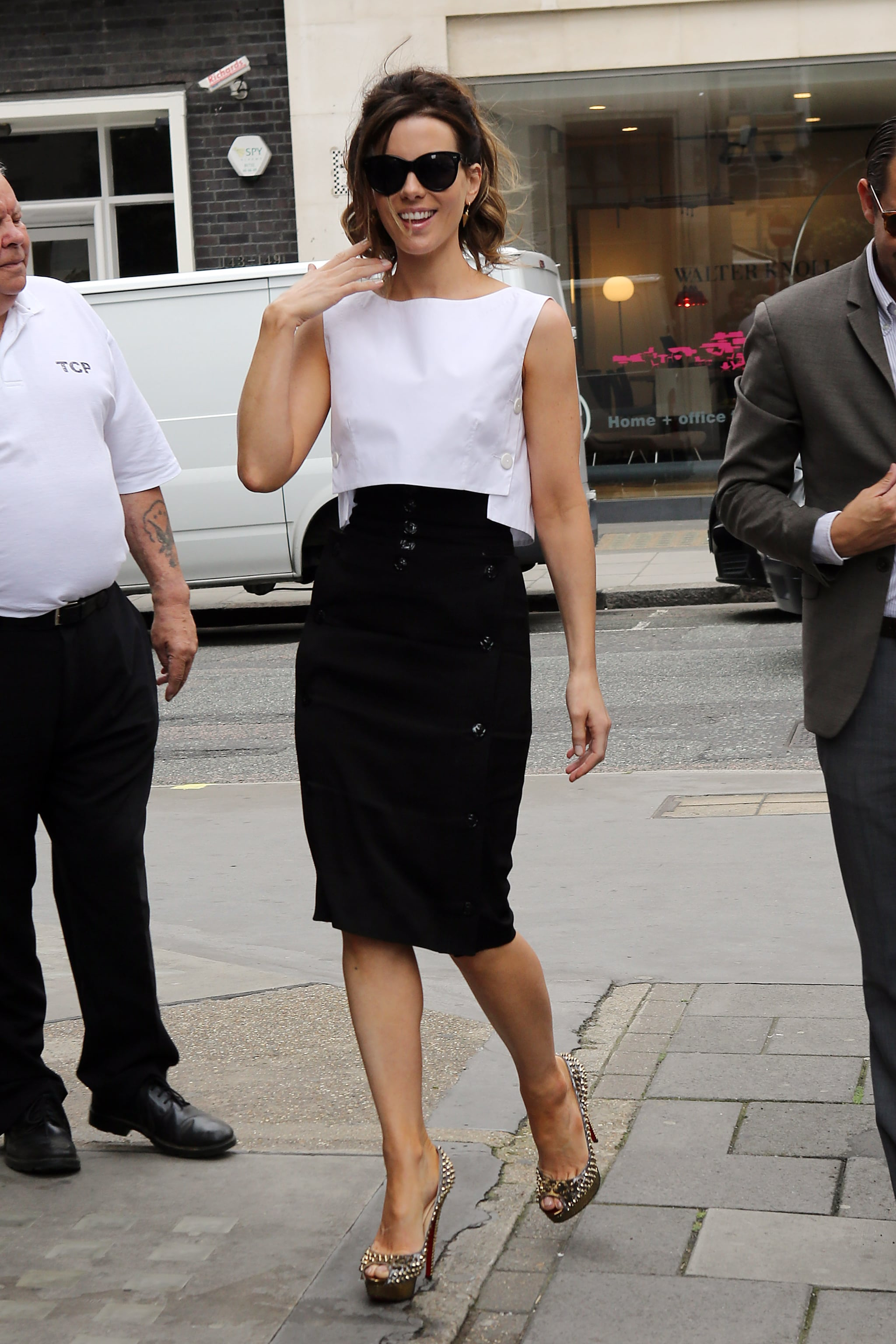 Kate Beckinsale smiled on her way into BBC Radio in London.