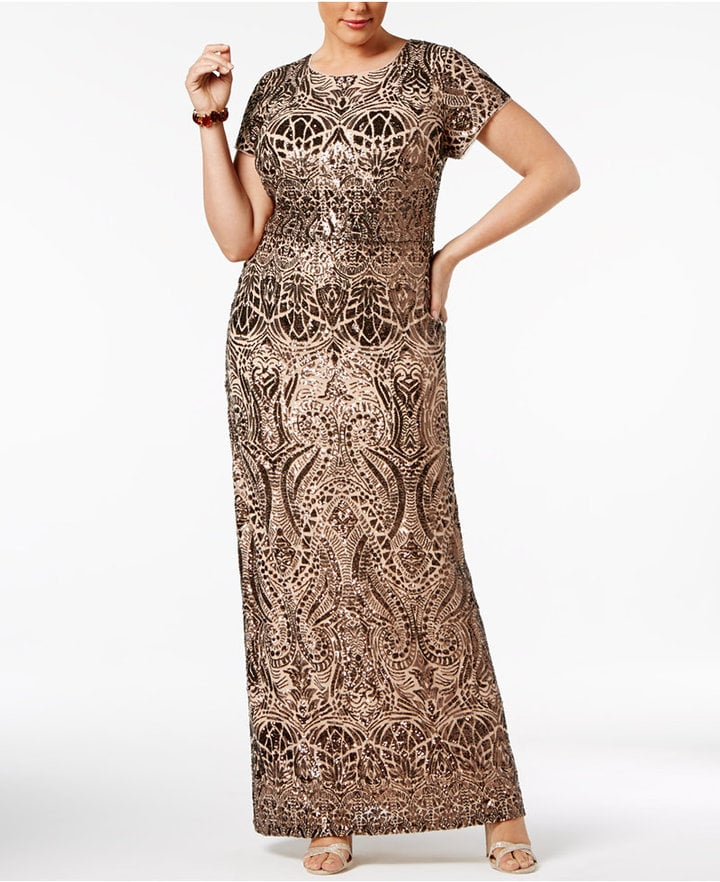 Betsy & Adam Sequined Gown | Plus Size Wedding Guest Dresses ...
