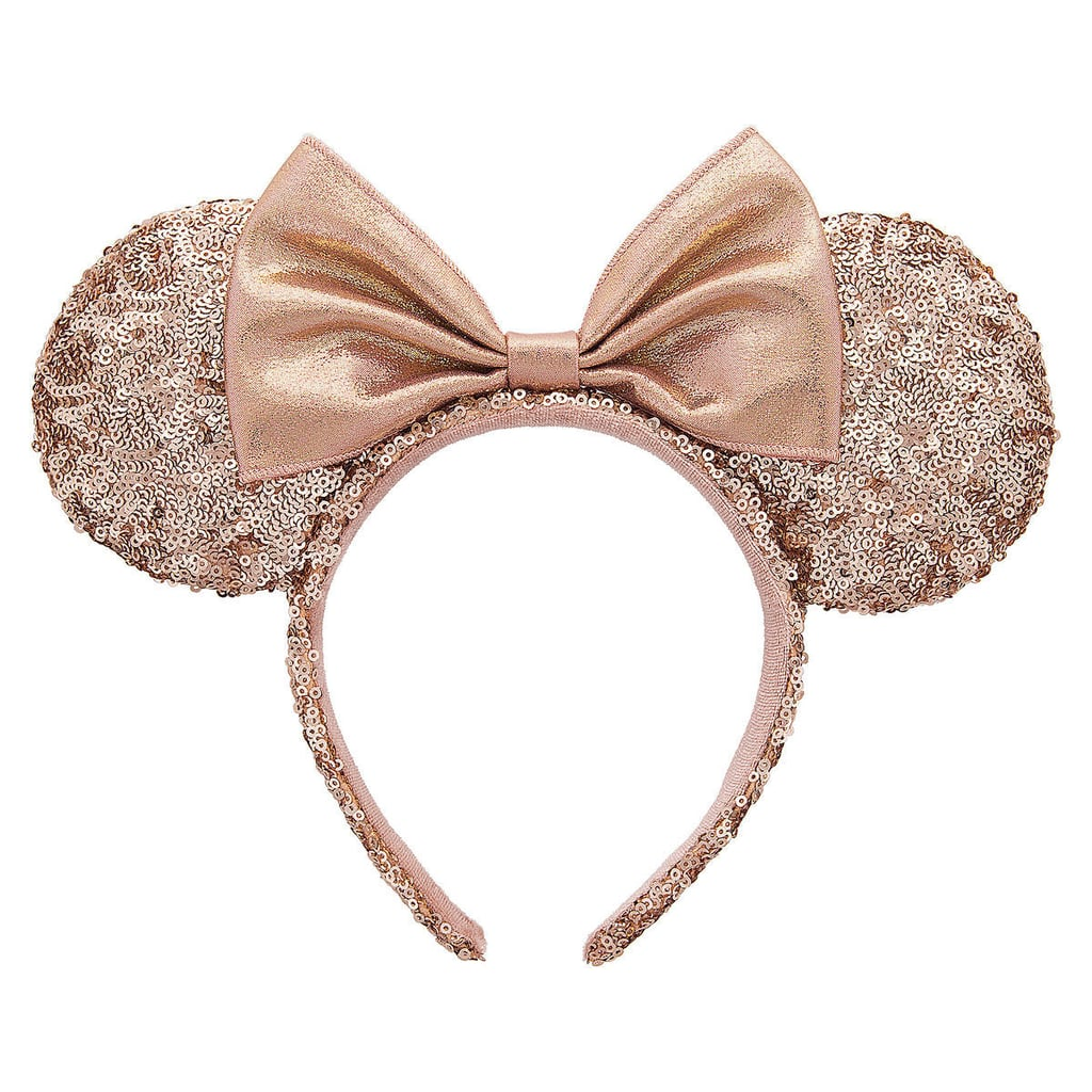 minnie mouse rose gold sequined ear headband | mickey and minnie
