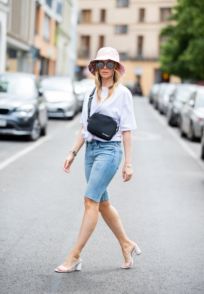 Slip On Bermuda Shorts With PVC Heeled Sandals and a T-Shirt