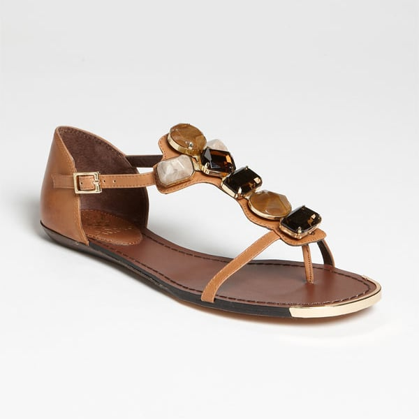 The neutral color palate of this camel colored sandal with oversize stones makes it glamorous, versatile, and easy to wear.  Vince Camuto 'Kaila' Sandal ($98)