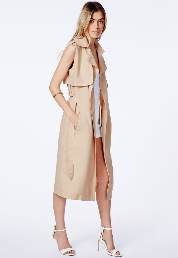 Missguided Camel Sleeveless Trench Coat