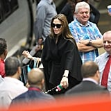 Angelina Jolie leaves London from Euston.