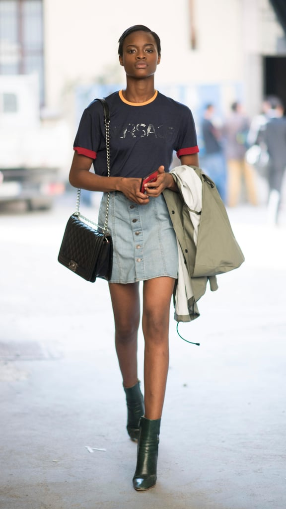 how to wear a denim skirt for fall popsugar fashion